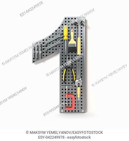 Number 1 one Alphabet from the tools on the metal pegboard isolated on white. 3d illustration