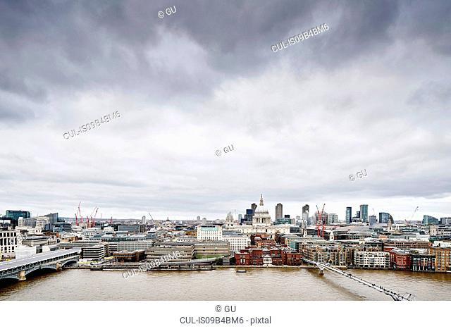 City skyline from Tate Modern, with river Thames and millennium bridge, London, UK