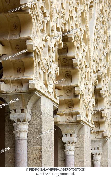 Southern portico in Santa Isabel courtyard. Palacio de la Aljafería. Zaragoza. Aragón, Spain