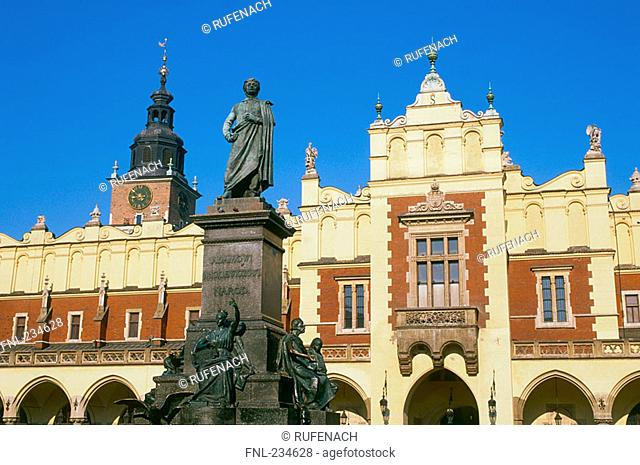 Mickiewicz monument in font of cloth hall, Krakow, Poland