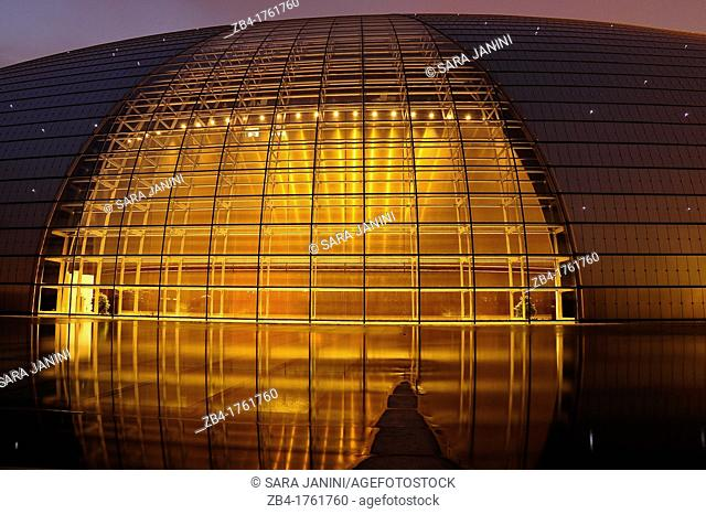 The National Theatre in the night, Beijing, China, Asia