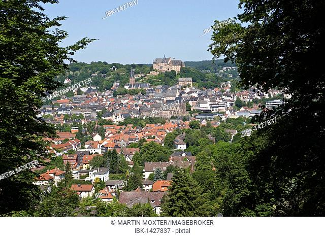 View of Marburg an der Lahn with the towntown, in the back the Marburger Schloss castle, University Museum of Cultural History, Lutherkirche church