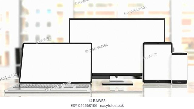 Set of realistic blank monitors, responsive design. Computer monitor, laptop, tablet and smartphone on wooden desk, blur office background