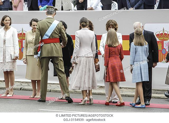 King Felipe VI of Spain, Queen Letizia of Spain, princess Leonor and Princess Sofia attend the national day parade at Lima square in Madrid