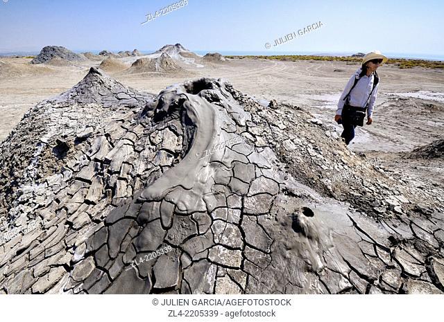 Bubbling mud volcano. Azerbaijan, Qobustan. Model Released