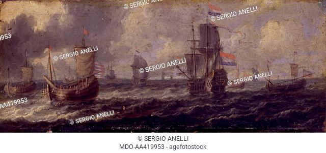 Seascape with Dutch Ships, by Unknow Dutch Artist, 1650 -1699, 17th Century, oil on copper, 10 x 25 cm. Italy, Lombardy, Milan, Castello Sforzesco
