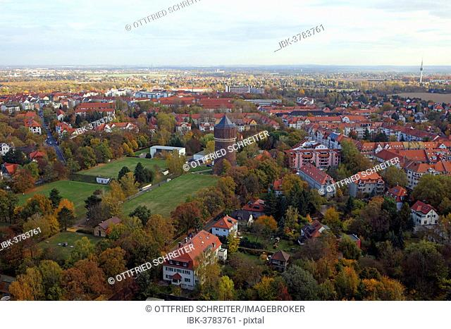View of the city of Leipzig and its surroundings from the Monument to the Battle of the Nations in autumn, Leipzig, Saxony, Germany