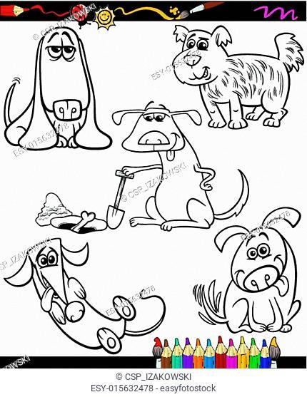 dogs set cartoon coloring book