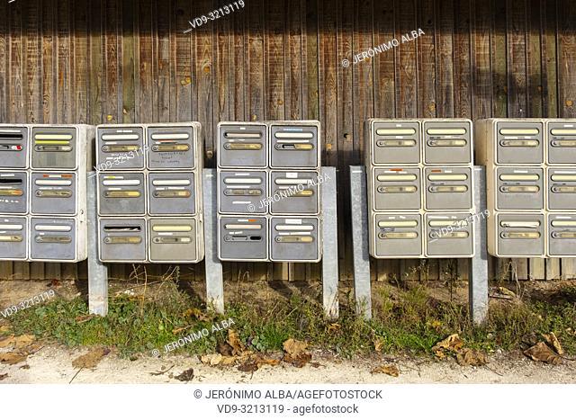 Postboxes. Oyster farming area, Arcachon Bay. Bassin d'Arcachon. Lège-Cap-Ferret, Gironde. Aquitaine region. France Europe
