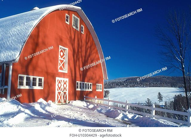 red barn, Vermont, farm, VT, Snow-covered red barn with white trim at Diamond Heart Farm in East Albany in the winter
