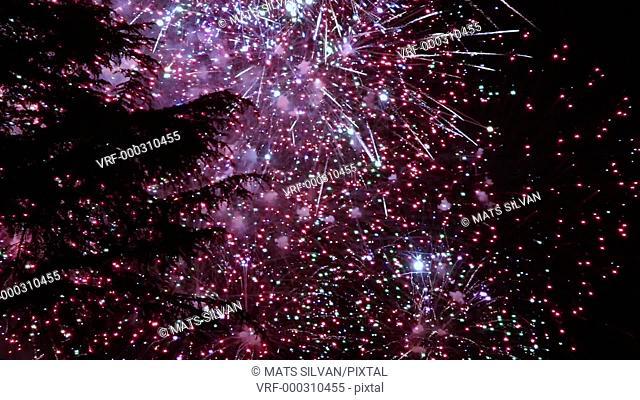 Fireworks Show in Slow Motion in Locarno, Switzerland