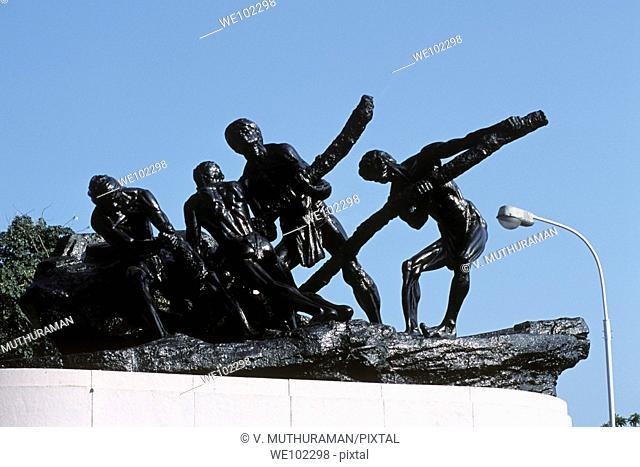 Triumph of Labour statue in beach road, Chennai, Madras, Tamil Nadu,Tamilnadu, India