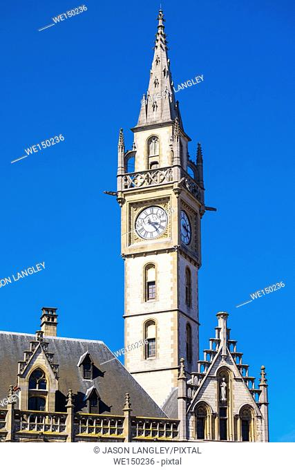 Belgium, Flanders, Ghent (Gent). Former Post Office clocktower