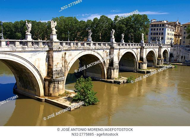 Sant Angelo Bridge, River Tiber, Rome, Lazio, Italy
