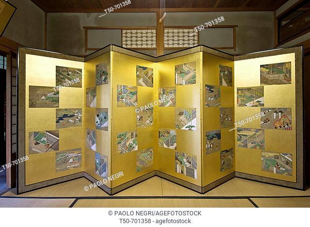 Japan, traditional house interior Six-Fold Screen depicting the Tale of  Genji Monogatari