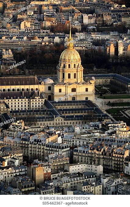 Aerial view of the Dome Church of Hotel de Invalides. Paris. France