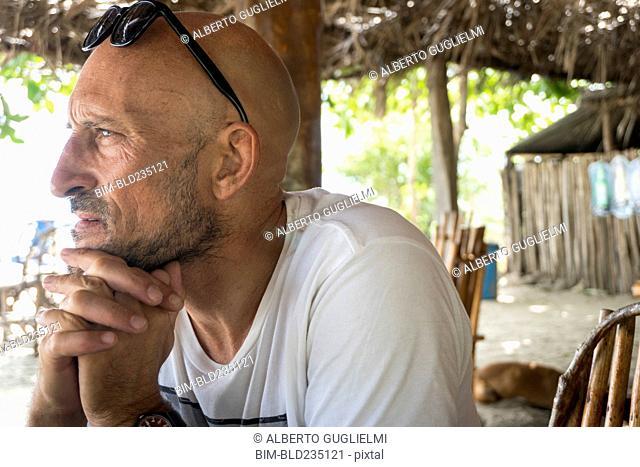 Pensive Caucasian man