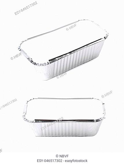 Foil food delivery container isolated over the white background, set of two different foreshortenings
