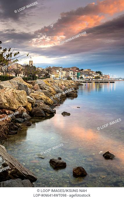Old fishing village of Bouzigues in Languedoc Roussillon