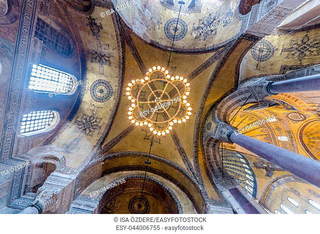ISTANBUL,TURKEY- MARCH 11: The Hagia Sophia (The Church of the Holy Wisdom or Ayasofya in Turkish) spectacular Byzantine landmark and world wonder in Istanbul