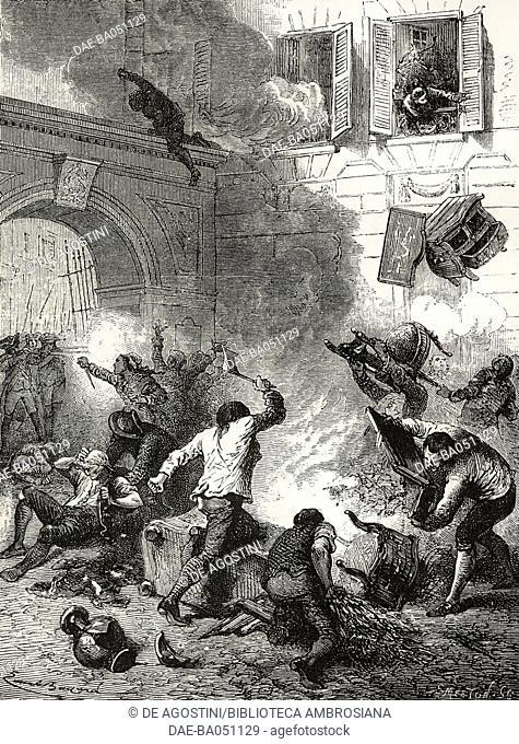 Plundering the industrialist Jean-Baptiste Reveillon's home, in Faubourg Saint-Antoine, Paris, Reveillon riots, 1789, illustration from L'Illustration