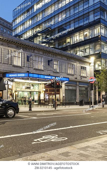 England, London , Aldgate Underground station in Portsoken is within walking distance to Aldgate, located in the City of London