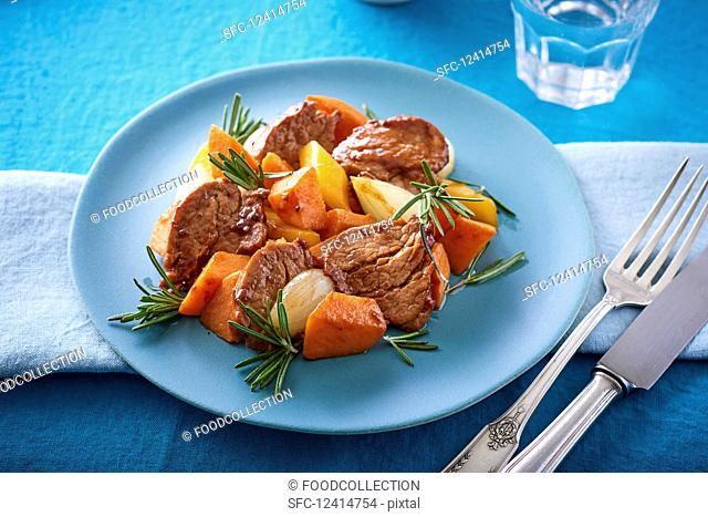 Sautéed beef fillet with sweet potatoes and rosemary