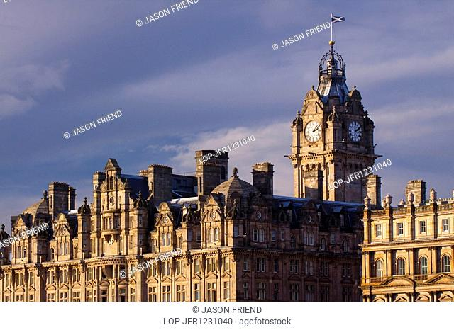 Scotland, City of Edinburgh, Edinburgh. Balmoral Hotel clock tower, often referred to as the most photographed clock tower in Scotland