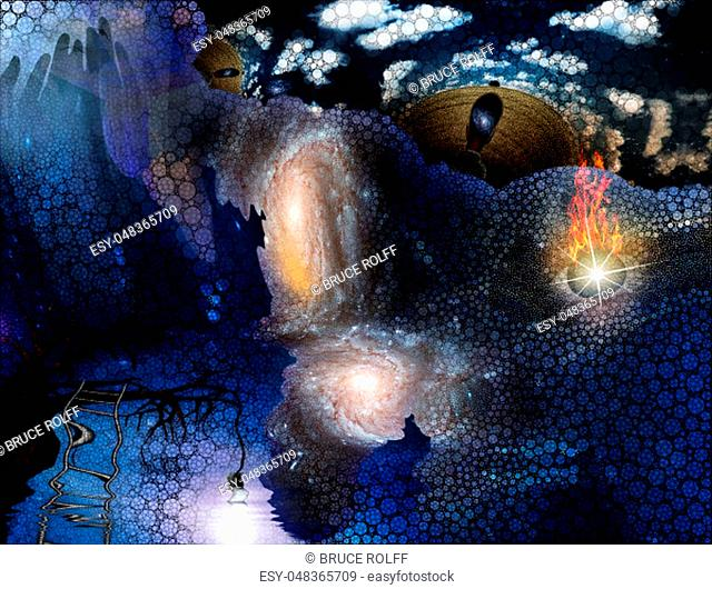Tree with hanging light bulb human with galaxy mind and floating flaming eye with rectangular shapes and small circles abstract