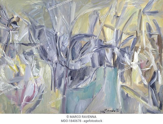 Gray Landscape, by Pompilio Mandelli, 1954, 20th Century, oil on canvas, 70 x 100 cm. Italy, Emilia Romagna, Bologna, Modern Art Museum, MAMBO