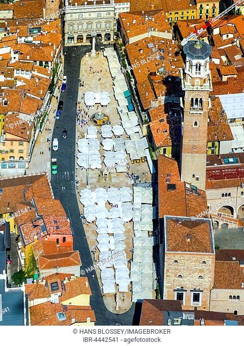 View of city centre with Piazza delle Erbe, market square, Domus Mercatorum, Torre dei Lamberti, Province of Verona, Province of Verona, Veneto, Italy