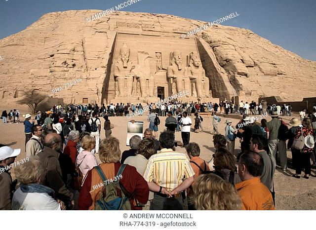 Tourists gather at the Great Temple of Abu Simbel, UNESCO World Heritage Site, Nubia, Egypt, North Africa, Africa