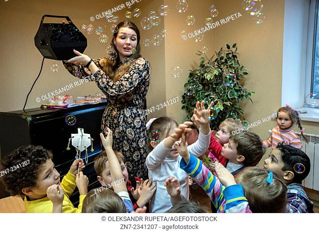 Jewish children celebrate Hanukkah in Kiev Jewish Messianic Congregation Center, Kiev, Ukraine