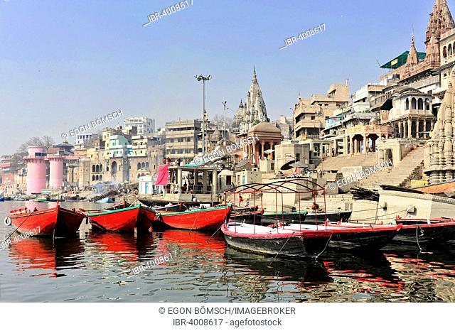Boats and Ghats on the Ganges, Varanasi, Benares, Uttar Pradesh, India