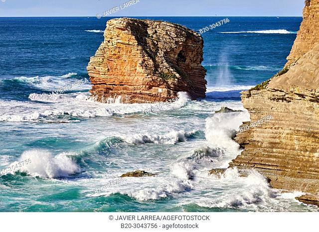 The Twin Rocks, The Basque Corniche, Hendaye, Pyrénées-Atlantiques department, Aquitaine region, France, Europe