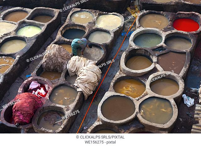 Fes, Morocco. Typical leather tanneries