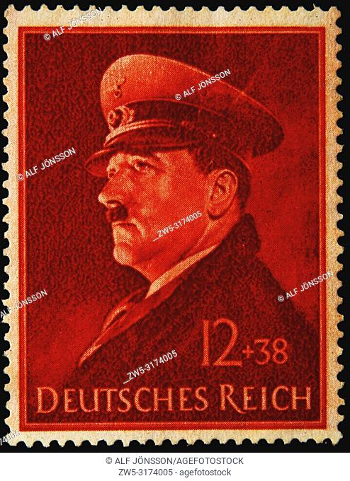 Adolf Hitler, a German politician, demagogue, and Pan-German revolutionary . He was leader of the Nazi Party. Portrait on a German stamp
