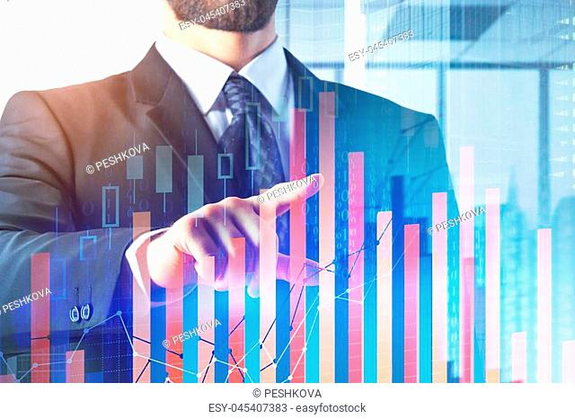 Investment and analysis concept. Businessman with abstract forex chart on glowing city background. Double exposure