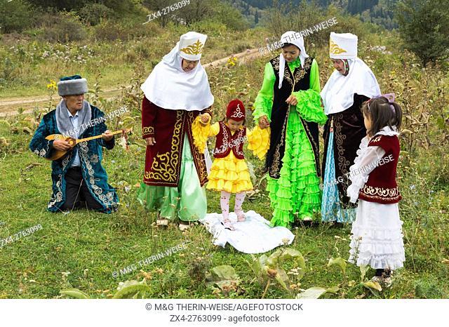 Tussau Kesu Ceremony known as Cutting the Threat, Kazakh ethnographical village Aul Gunny, Talgar city, Almaty, Kazakhstan, Central Asia, Asia