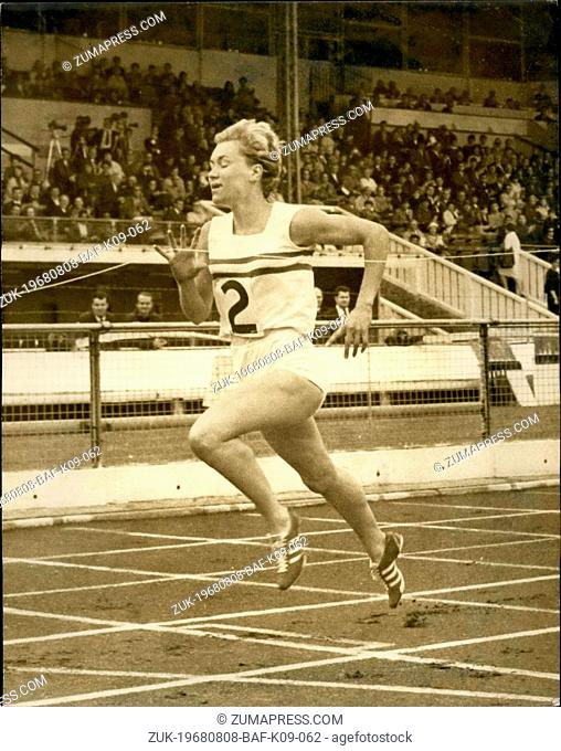 Aug. 08, 1968 - International athletics at white city G.B. V Germany (women) 200 Lillian board G.b. Wins. Photo shows The finish of the 200 meters as Lillian...