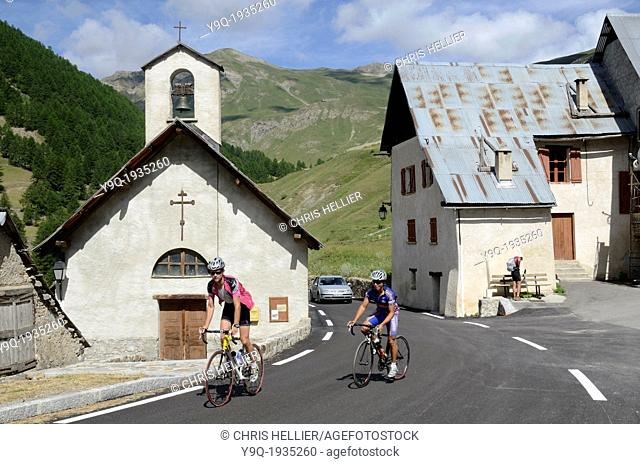 French Cyclists at Bousieyas on the Route de la Bonette French Alps France