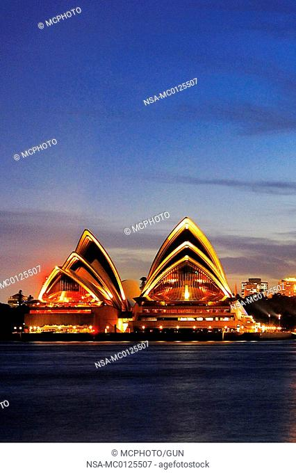 Sydney Opera during the blue hour, Circular Quay, Sydney Cove, Sydney, New South Wales, Australia, February 2007