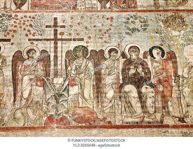 Pictures & imagse of the interior frescoes depicting the Assumption of the Virgin in the Timotesubani medieval Orthodox monastery Church of the Holy Dormition...