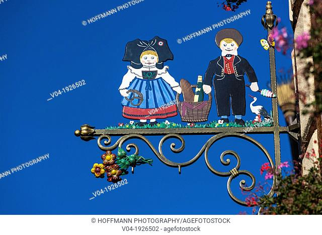 Close up of an adorned sign in Colmar, Alsace, France, Europe