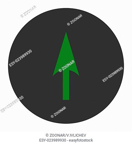 Arrow Axis Y flat green and gray colors round button