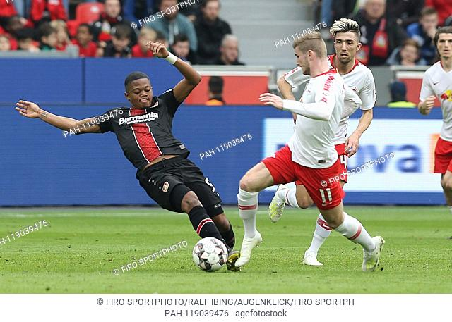 firo: 06.04.2019, football, 1.Bundesliga, season 2018/2019, Bayer 04 Leverkusen - RB Leipzig BAILEY versus WERNER, Leipzig right | usage worldwide