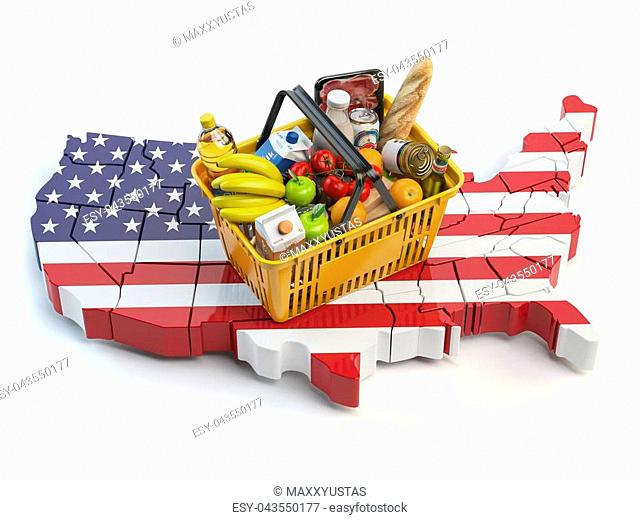 Market basket or consumer price index in USA United States. Shopping basket with foods on the map of USA. 3d illustration