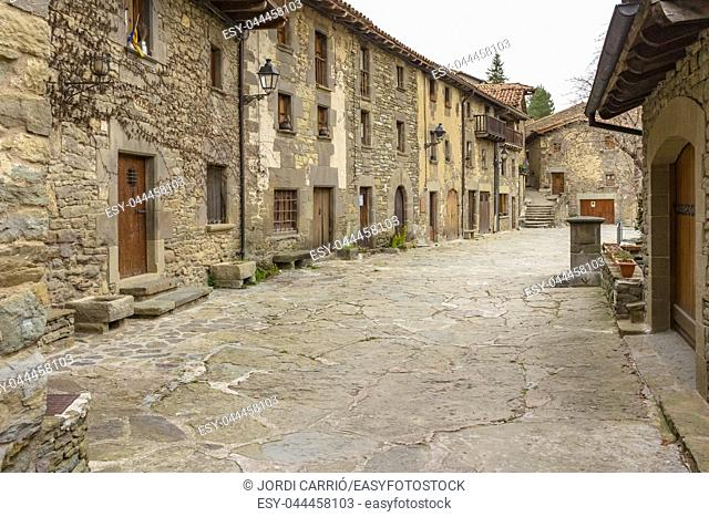 Set of 16th and 17th century houses in the upper area of the medieval center of Rupit, Catalonia, Spain