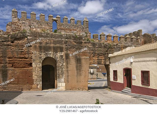 Ancient walls, Puerta del Socorro (11th century), Niebla, Huelva province, Region of Andalusia, Spain, Europe