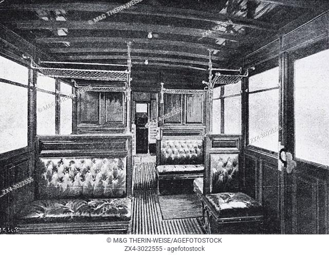 Interior of a First and Second class subway car, Paris, Picture from the French weekly newspaper l'Illustration, 14th July 1900